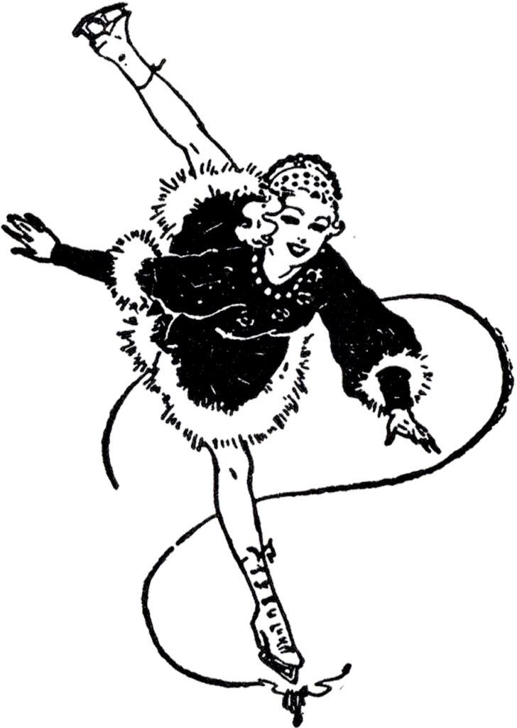 vintage figure skater clipart