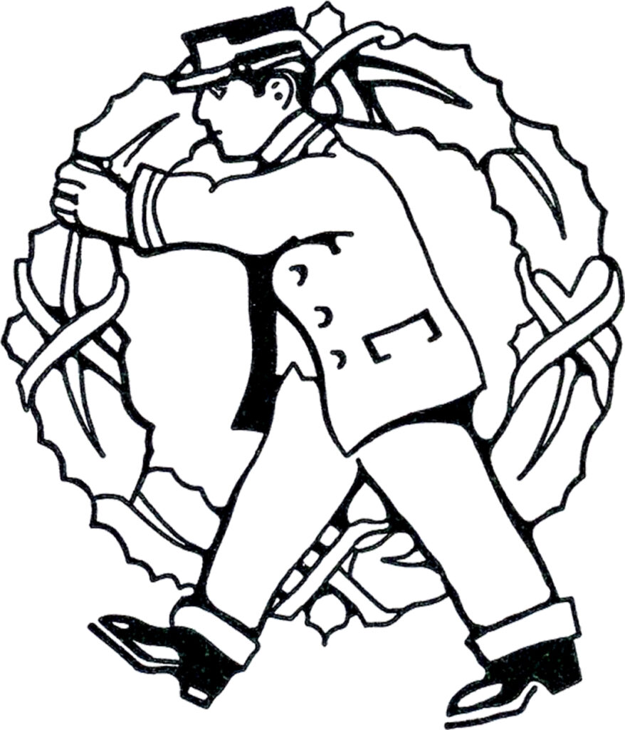 vintage holiday mailman holly wreath clipart