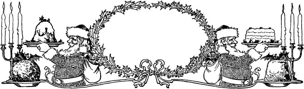 vintage holly wreath frame santa cake image