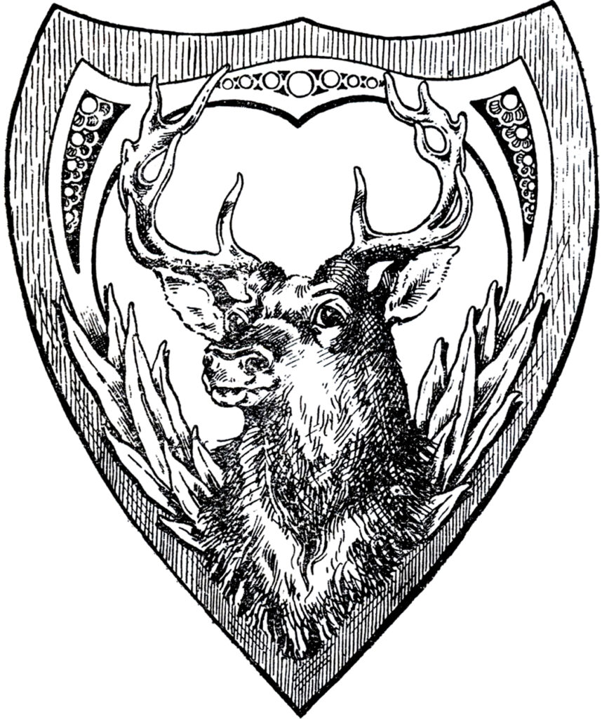 vintage shield deer head clipart