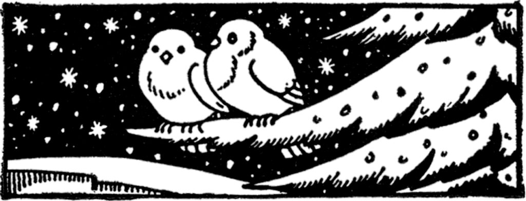 retro winter birds clipart