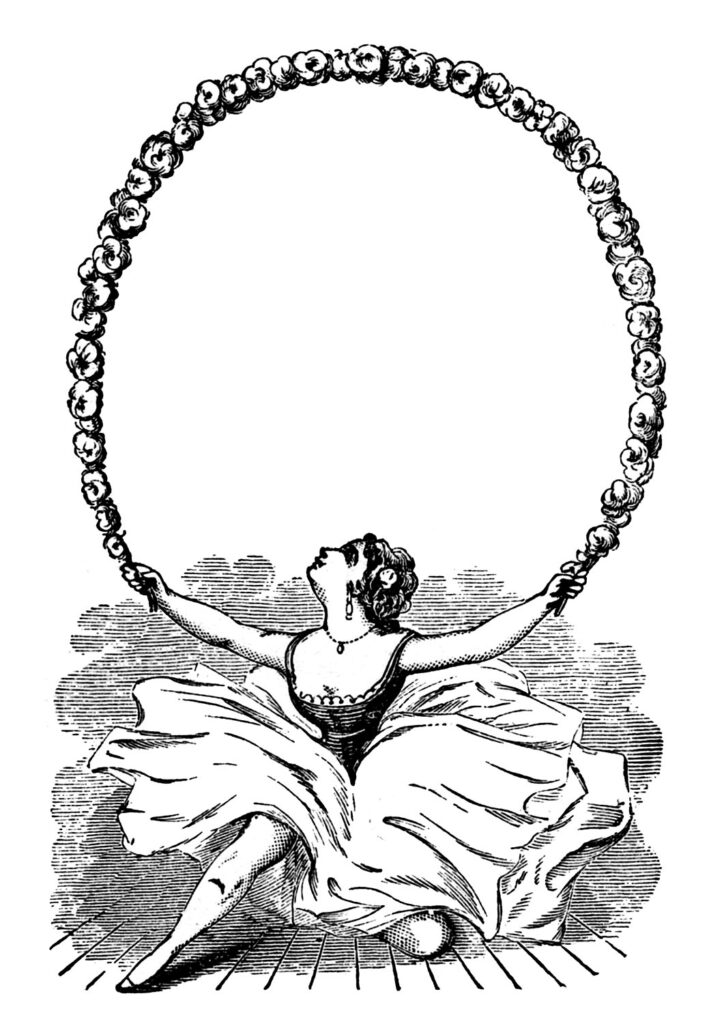 ballerina garland black white clip art