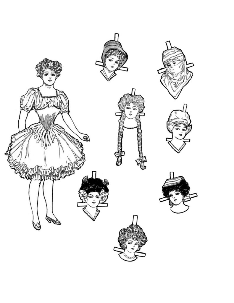 Christmas paper doll printable image