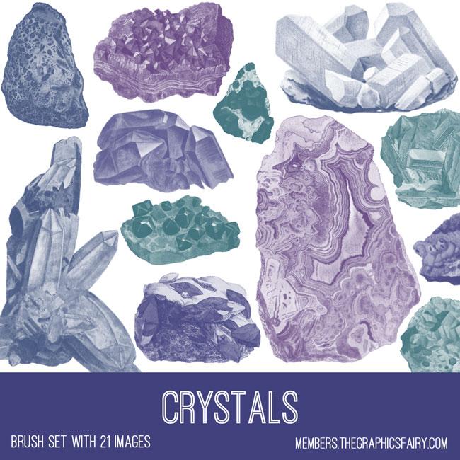 vintage crystals ephemera brush set