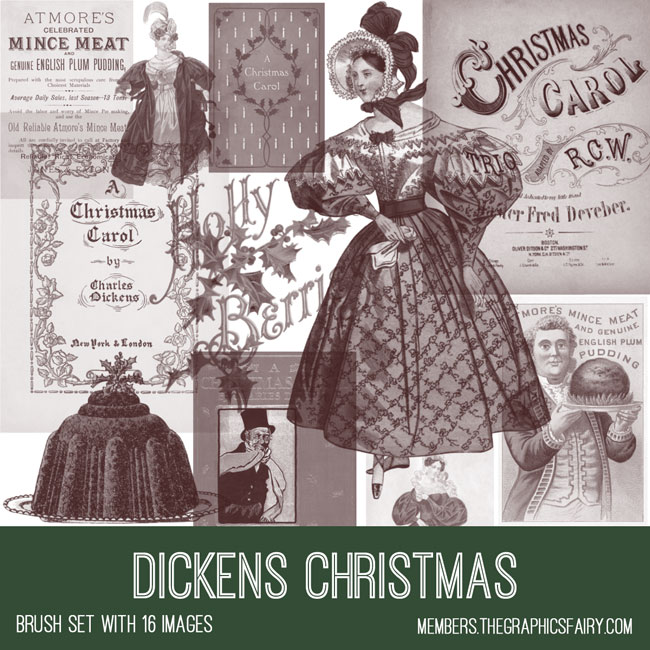 vintage Dickens Christmas ephemera brush set