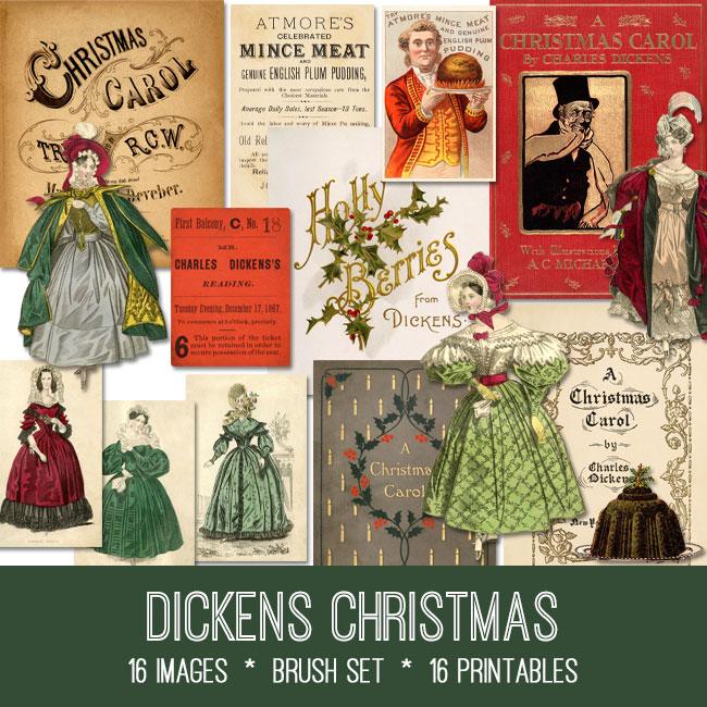 Dickens Christmas ephemera vintage images