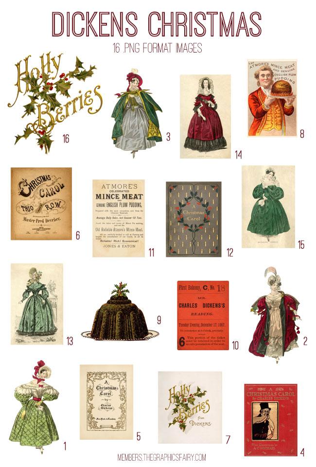 vintage Dickens Christmas ephemera bundle