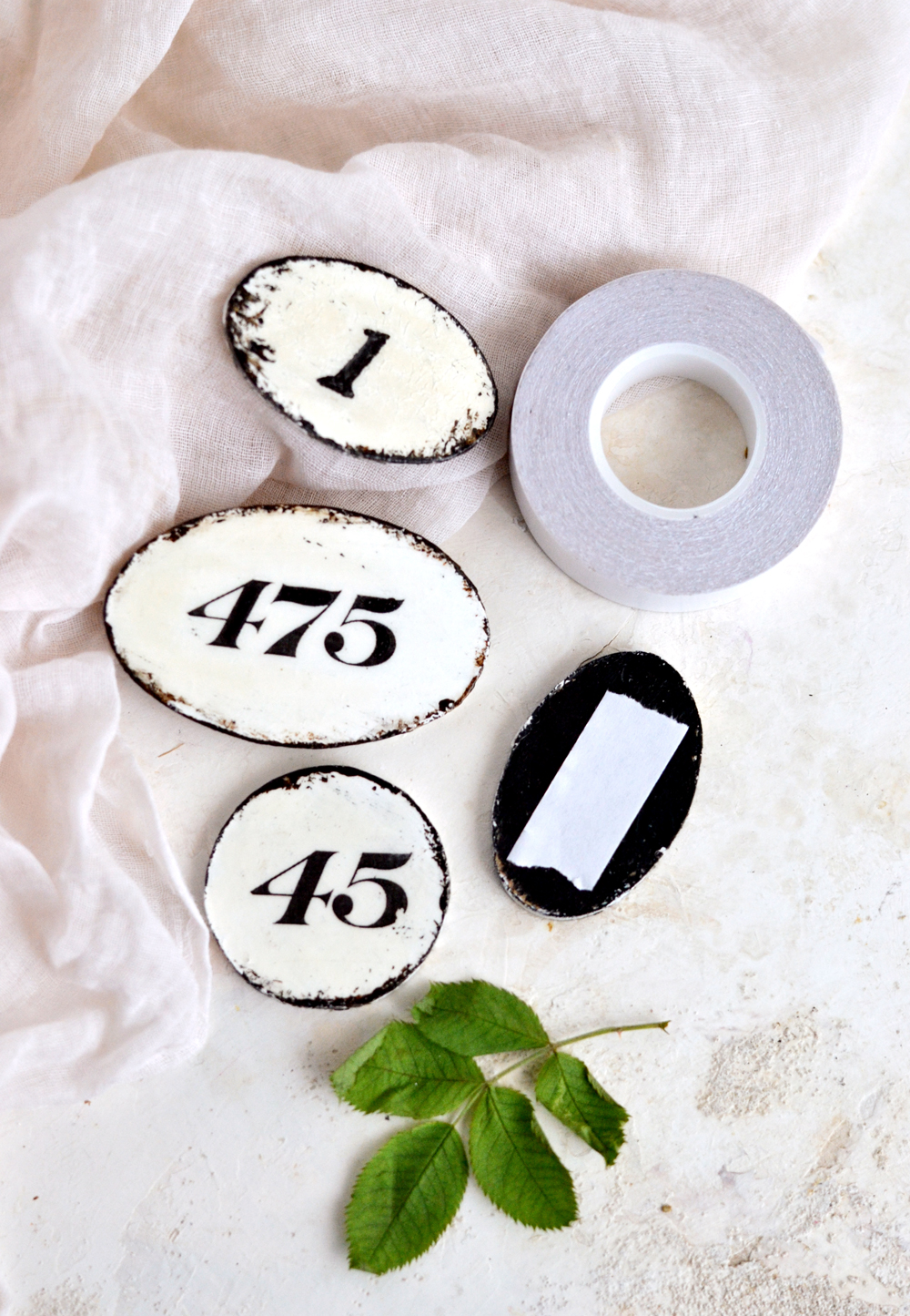 DIY Faux enamel number tags