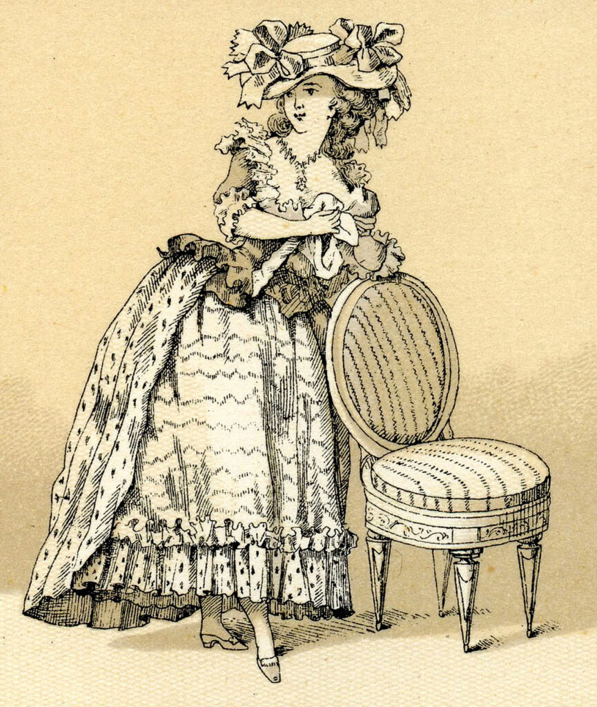 french costume lady large hat illustration