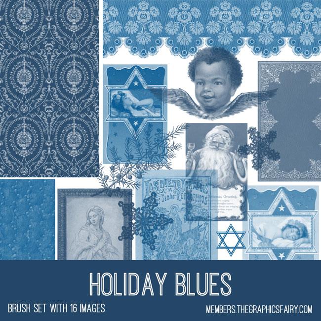 vintage holiday blues ephemera brush set