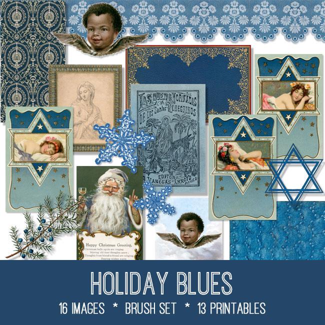 holiday blues ephemera vintage images