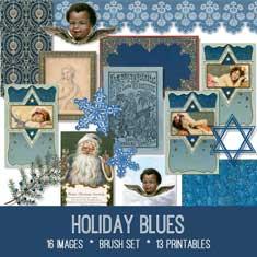 vintage holiday blues ephemera bundle