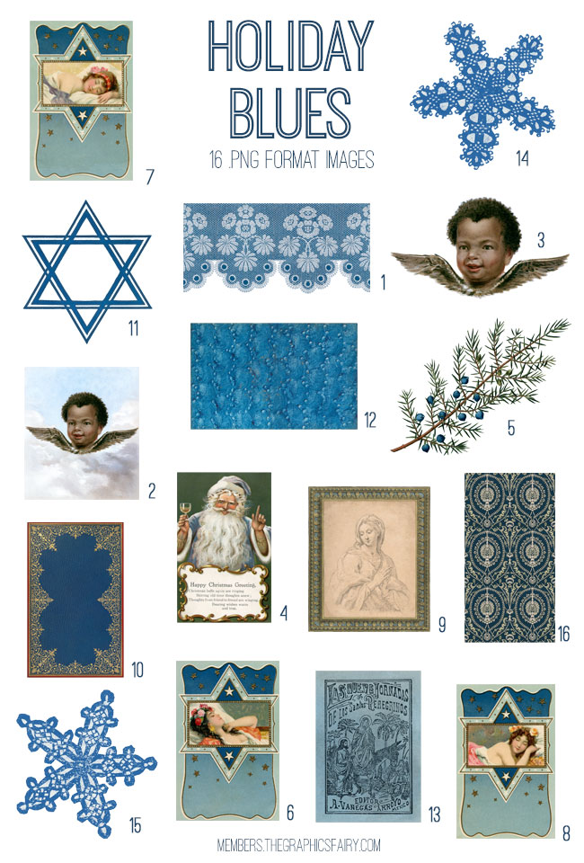 vintage holiday blues ephemera digital image bundle