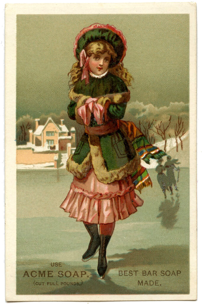 Victorian ice skating girl image