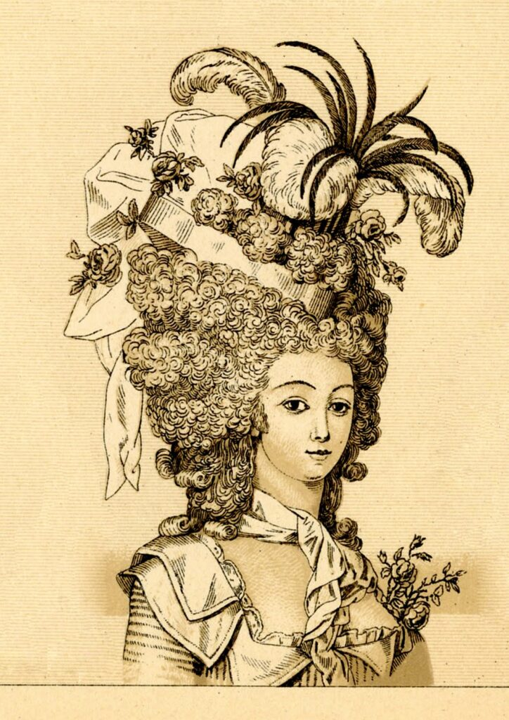 sepia marie antoinette elaborate hairstyle image