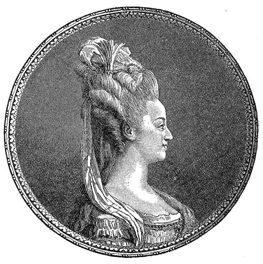 marie antoinette hair style profile clipart