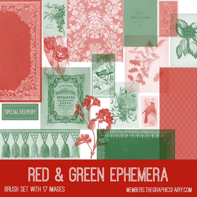 vintage red green ephemera brush set