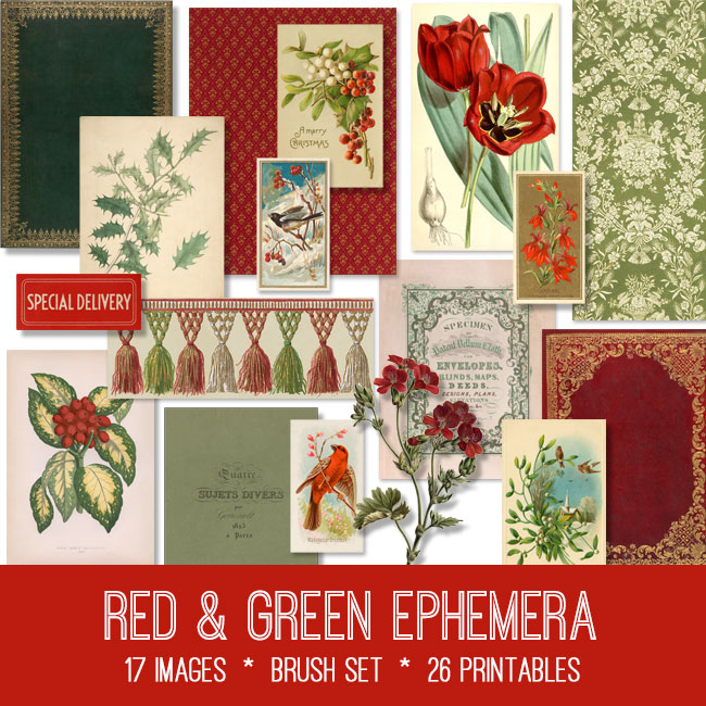 Red Green Ephemera vintage images