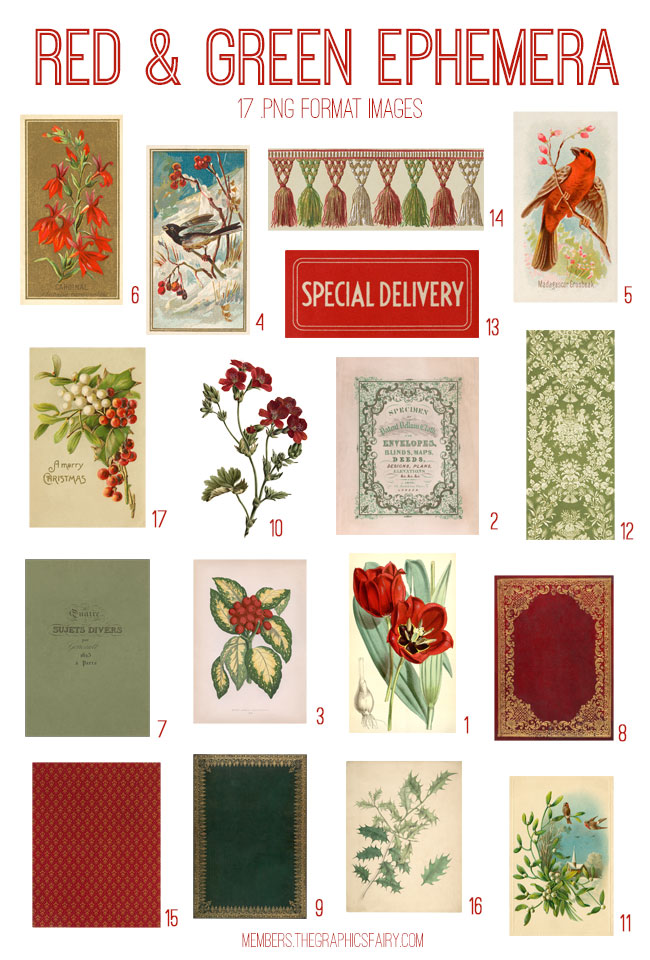 vintage red green ephemera digital image bundle