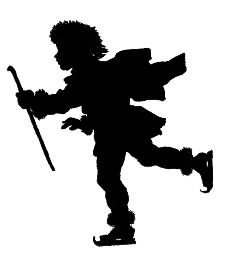 ice skating boy silhouette image