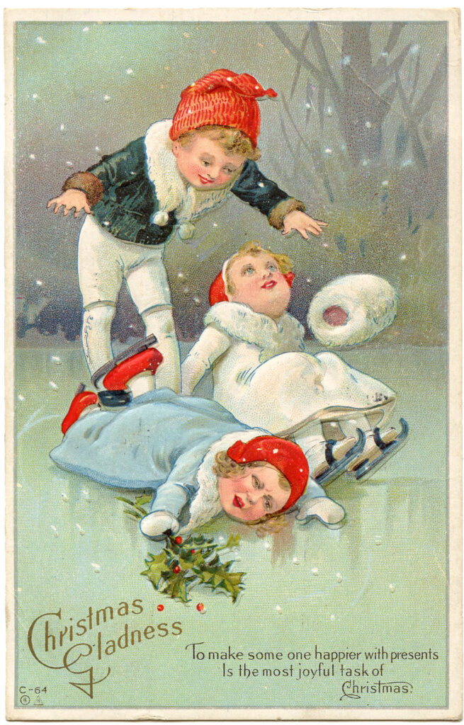 Christmas Skate Children Image Falling