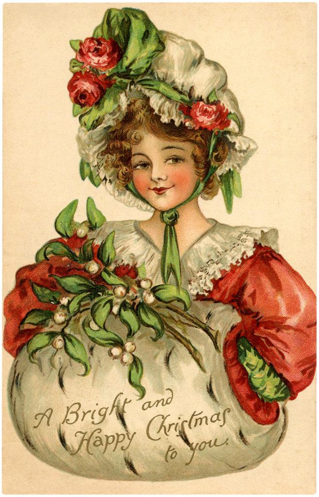 Dickens girl mistletoe muff image