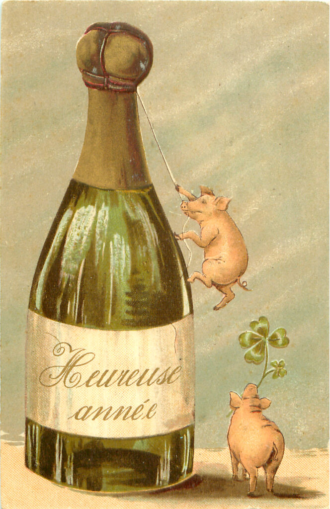 French Champagne Pigs New Year Image