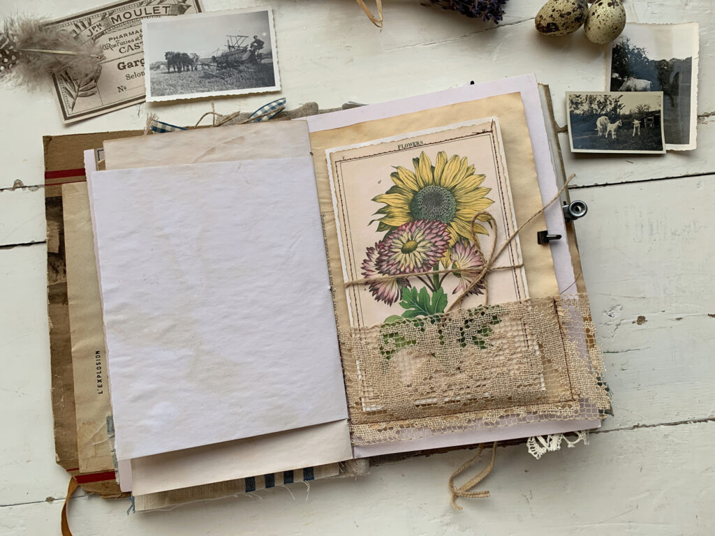 sunflower journal page lace pocket