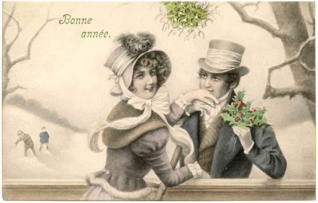 mistletoe vintage couple illustration