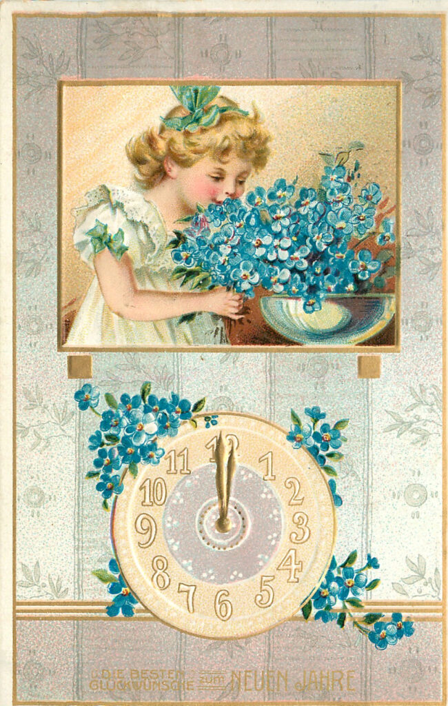New Years Flowers and clock Image
