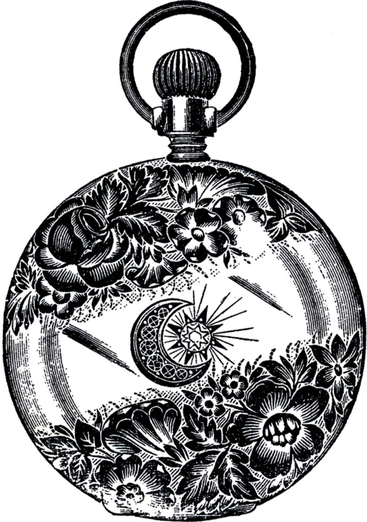 moon star pocket watch case clipart
