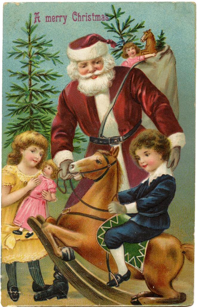 Santa Kids Rocking Horse Image