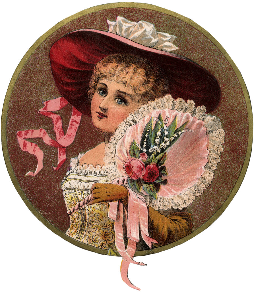 Victorian girl hat fan illustration