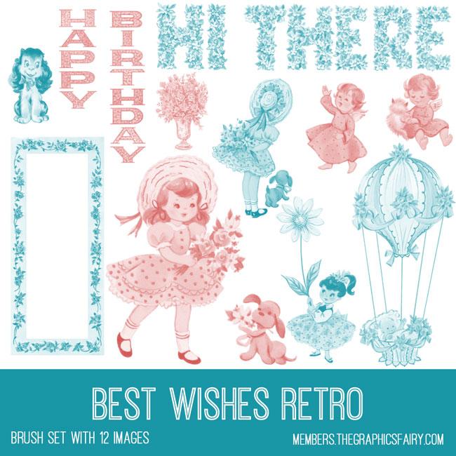 vintage best wishes retro ephemera digital image bundle