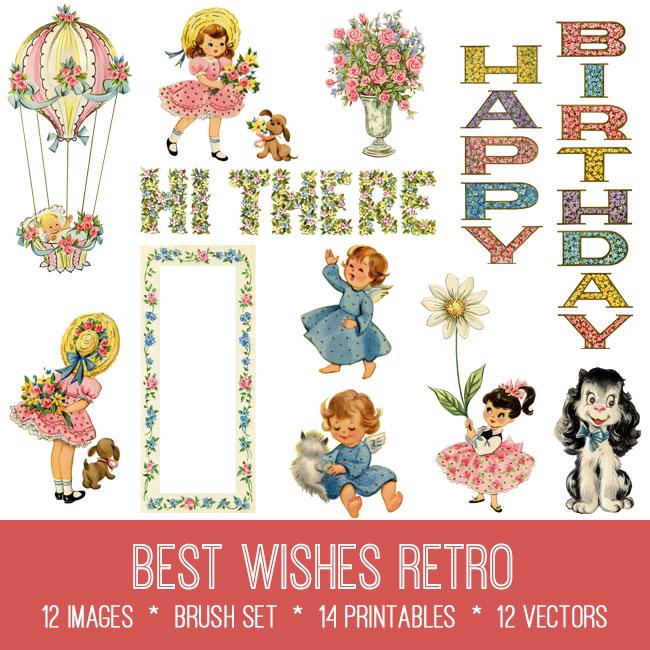 Best Wishes Retro ephemera vintage images