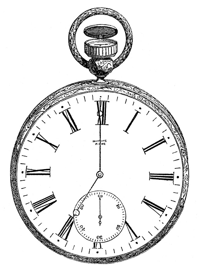 pocket watch face roman numerals illustration