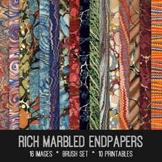 Rich Marbled Endpapers