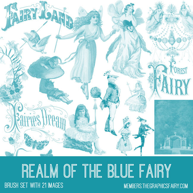 vintage realm of blue fairy ephemera brush set
