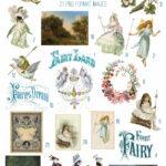 vintage ephemera realm blue fairy digital image bundle