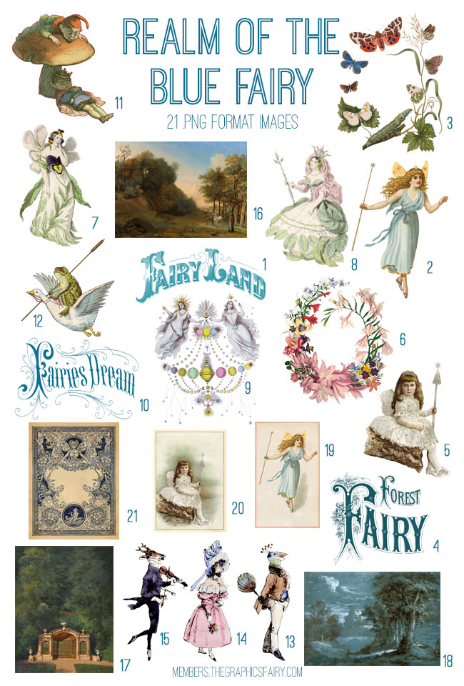 vintage ephemera realm blue fairy digital image bundle