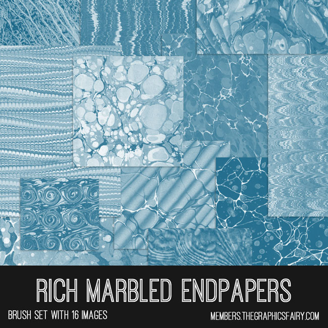 vintage rich marbled endpapers ephemera digital image bundle