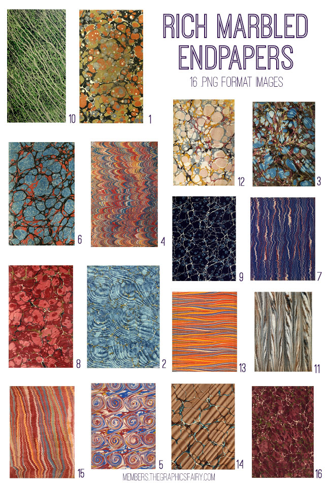vintage rich marbled endpapers ephemera bundle