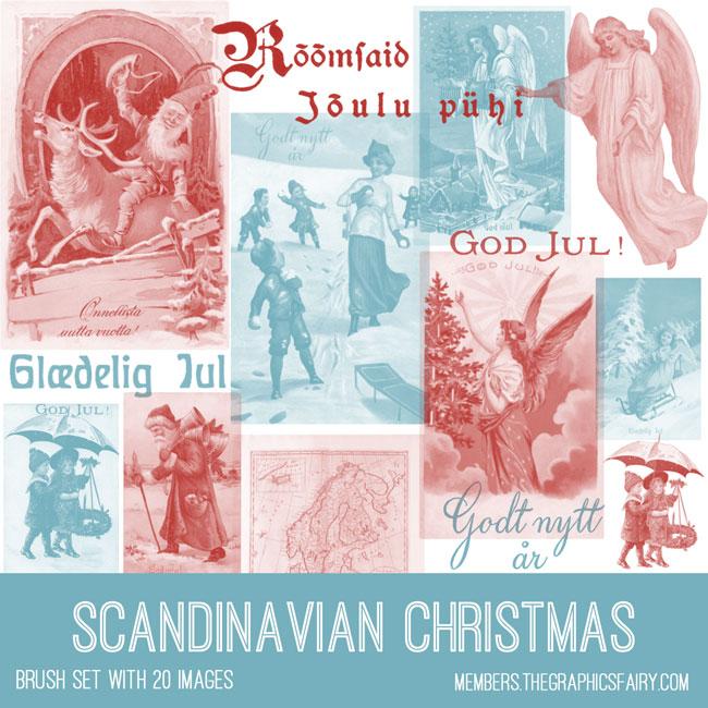 scandinavian Christmas vintage ephemera brush set