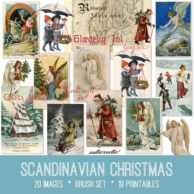 Scandinavian Christmas ephemera vintage images