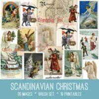 Scandinavian Christmas vintage ephemera bundle