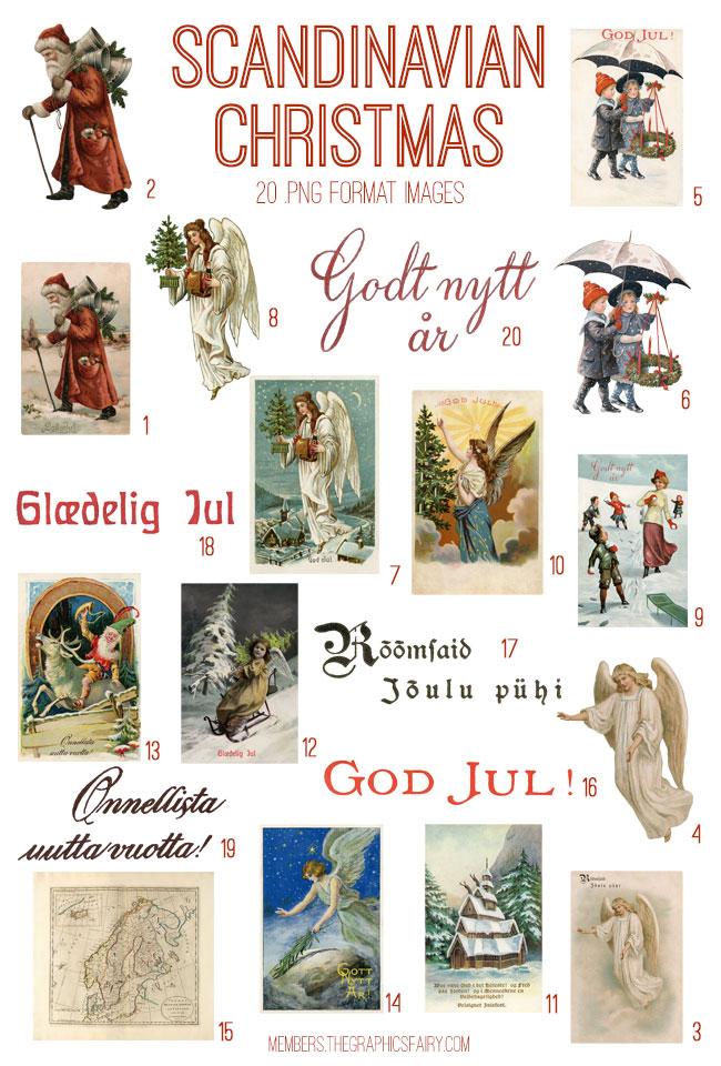 vintage scandinavian Christmas ephemera digital image bundle