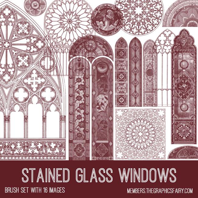 vintage stained glass windows ephemera brush set