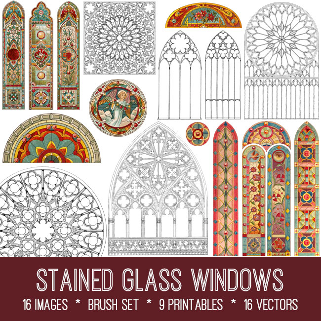 stained glass windows vintage images