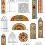 vintage stained glass windows ephemera digital image bundle