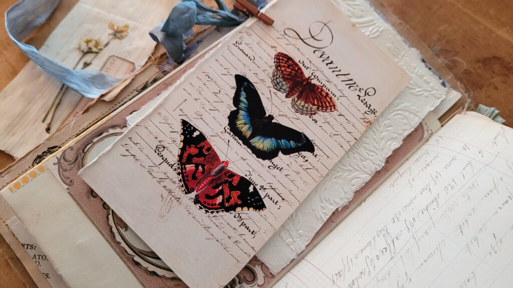 butterfly trio journal page